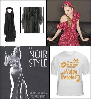 Vestido de Fernanda Yamamoto, look de poás da Pop Chiq, camiseta da Oh Shirt! e capa do livro ´The Noir Style´