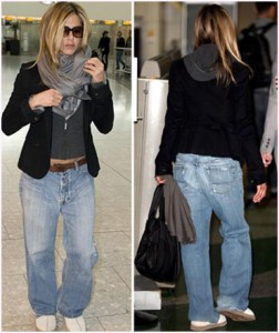 Jennifer Aniston adere à moda do jeans masculino
