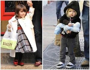 Shiloh Jolie-Pitt e Suri Cruise juntas em chá de bonecas