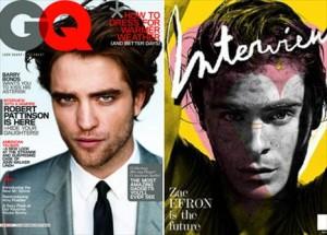 Robert Pattinson e Zac Efron são destaques das revistas de moda norte-americanas