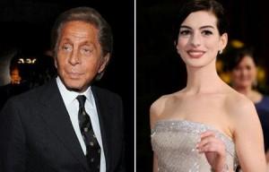 Valentino derruba vinho em vestido de Anne Hathaway