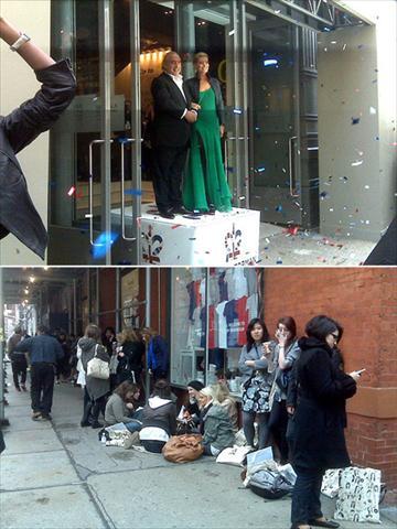 Kate Moss com Philip Green na entrada da loja e a fila antes da abertura: mina de ouro