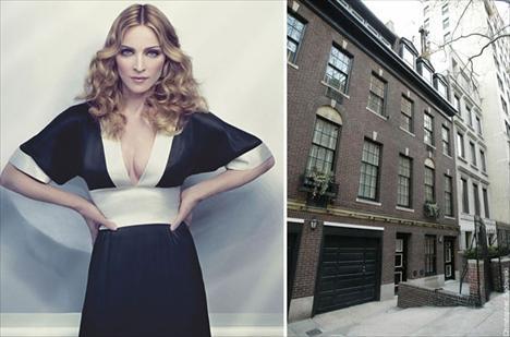Madonna e a fachada da casa nova, em NY: pé lá, pé cá