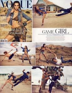 """Daria Werbowy encarna a lutadora para ensaio da """"Vogue"""" França"""