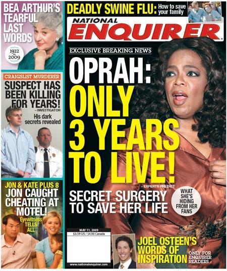 """Oprah na capa do """"National Enquirer"""": momento difícil"""