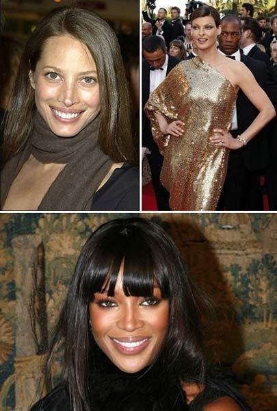 Christy Turlington, Linda Evangelista e Naomi Campbell: bateu um ciuminho...