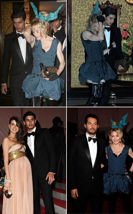 Madonna e Jesus já quando ficaram juntos, e os dois chegando separados, ao lado de Michelle Alves e Guy Oseary: quatrilho