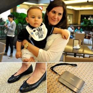 Paula Trabulsi traz o filho ao espaço Glamurama no Cidade Jardim Fashion