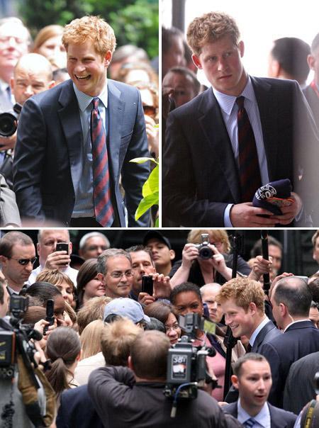 Príncipe Harry em visita oficial a Nova York: assédio