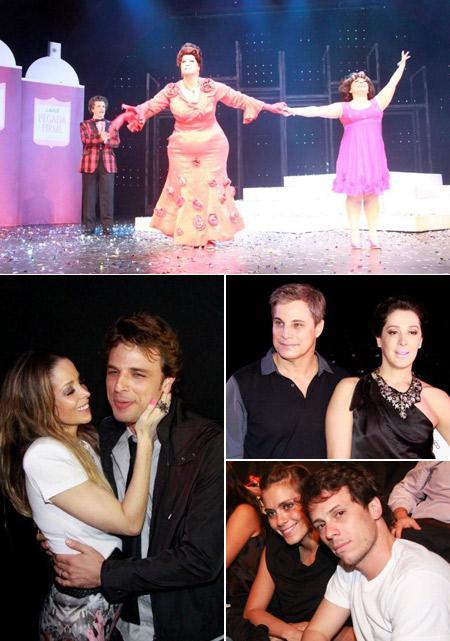 Edson Celulari no palco, Danielle Winits e Cássio Reis, Cláudia Raia e Edson, e Carolina Dieckmann e Tiago Worcman: noite musical