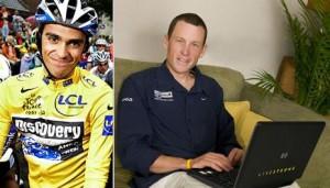 Os ciclistas Alberto Contador e Lance Armstrong trocam farpas