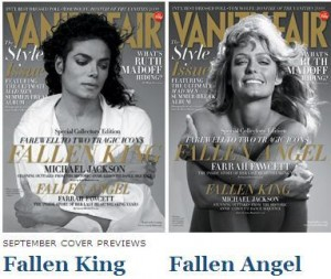 """""""Vanity Fair"""" homenageia Michael Jackson e Farrah Fawcett na edição de setembro."""