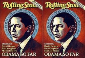 """Ilustração de Barack Obama sério e pensativo estampa a """"Rolling Stone"""" norte-americana."""