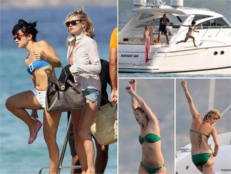 Kate Moss e Lily Allen se jogando em Saint-Tropez