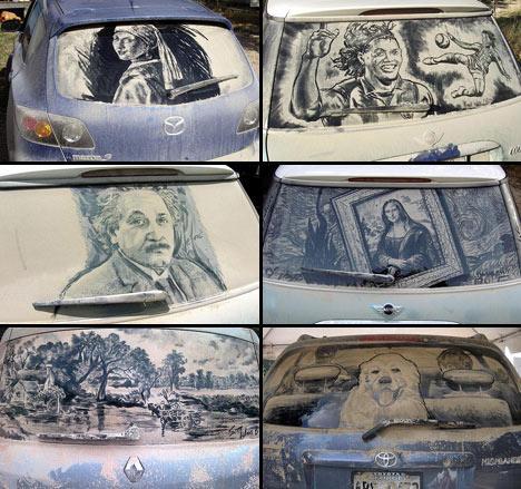 Artista norte-americano faz desenhos usando como tela vidros sujos de carros .