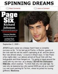 """Só nesta semana já é a segunda vez que Glamurama serve de fonte para a """"Page Six""""."""