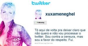 Xuxa volta ao Twitter para negar que esteja processando o microblog.