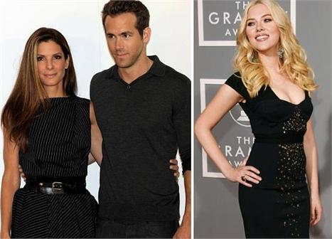 Sandra Bullock, Ryan Reynolds e Scarlett Johansson: help!