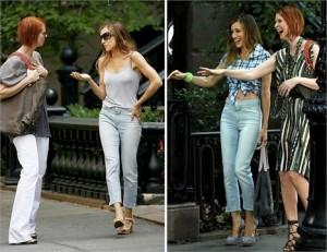 """Sarah Jessica Parker e Cyhthia Nixon em clima de paz no set de """"SATC"""", em Nova York."""