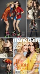 """Drew Barrymore e Ellen Page dividem a capa da edição de outubro da """"Marie Claire"""" norte-americana."""