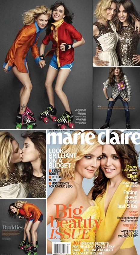 "Drew Barrymore e Ellen Page na ""Marie Claire"": best friends forever"
