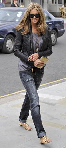 Elle Macpherson: jeans rasgados em alta