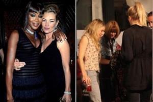 As duplinhas se formaram durante a London Fashion Week, Kate Mossa e Naomi Campbell e Anna Wintour e Sienna Miller