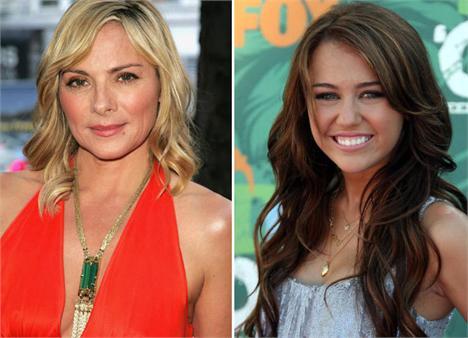 Kim Catrall e Miley Cyrus: mesmo look