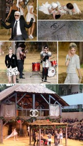 Karl Lagerfeld apresentou nesta manhã a coleção de verão 2010 da Chanel, em Paris. Realizado no Grand Palais, o desfile inspirado no Petit Trianon de Maria Antonieta teve chão de terra, grama e uma casa de campo instalada no meio da passarela.
