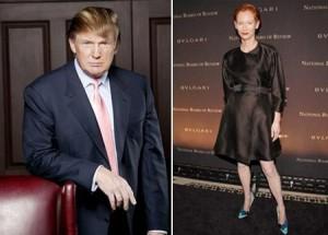 """Tilda Swinton, de """"Queime Depois de Ler"""", vem travando uma batalha contra o empresário Donald Trump. O motivo? A construção de um complexo de golf-resort na Escócia."""