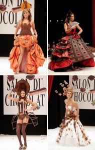 Acontece até domingo o festival de chocolates de Paris e para surpresa dos visitantes, este ano o festival foi aberto com um desfile que combinava peças criadas por designers locais com detalhes em chocolate.