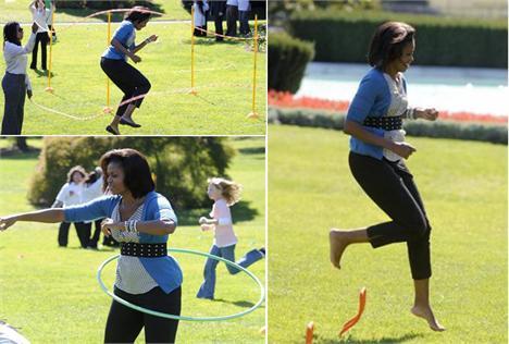 Michelle Obama arma festa para as crianças na Casa Branca.
