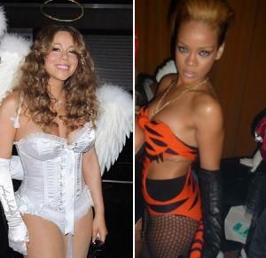 Em pleno baile de Halloween, no sábado, a guerra para ver quem ostentava a melhor fantasia acabou causando certa saia justa para as cantoras Rihanna e Mariah Carey.