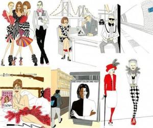 Ilustrador italiano cria blog só com ilustrações cheias de humor de personagens do mundo da moda.