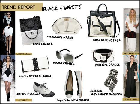 Acessórios em preto e branco