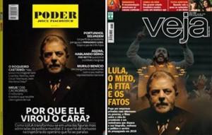 """A capa da """"Veja"""" desta semana lembra muito a da edição de maio da PODER."""