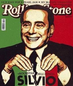 """Silvio Berlusconi é eleito o rock star do ano pela edição italiana da """"Rolling Stone""""."""