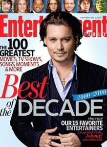"Johnny Depp ganha o título de ""entertainer"" da década da ""Entertainment Weekly""."