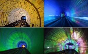 Metrô de Xangai ganha efeitos de luzes e som, virando ponto turístico da cidade.