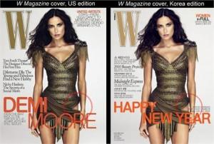Capa da revista W com atriz Demi Moore ganha reedição e correção na W Korea.