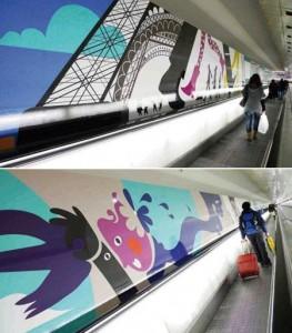 Terminal de Montparnasse, em Paris, ganha mural gráfico de 200 metros.
