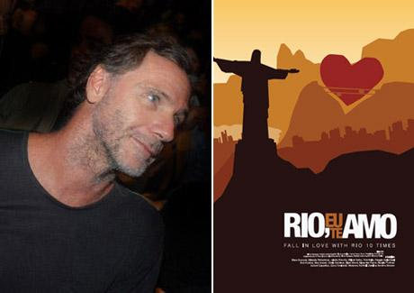 """Oskar Metsavaht e o cartaz do filme """"Rio, Eu Te Amo"""""""
