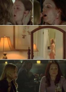 "Amanda Seyfried faz cena girl-on-girl com Julianne Moore em ""Chloe""."