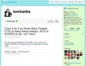 Tom Hanks cria perfil no Twitter.