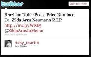 Ricky Martin presta homenagem à Zilda Arns.