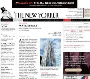 """Recém-adicionado ao conjunto de arranha-céus de Chicago, o edifício Aqua Tower, projetado por Jeanne Gang, é tema de uma matéria da edição de fevereiro da revista """"New Yorker""""."""