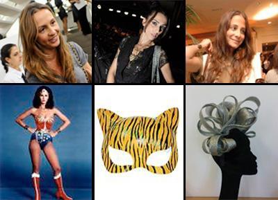 Amalia Spinardi/Mulher-Maravilha, Chiara Gadaleta/ tigresa e Paula Raia/ headpiece: fantasias