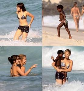 Lourdes Maria e Mercy James curtem praia do Recreio dos Bandeirantes, no Rio.