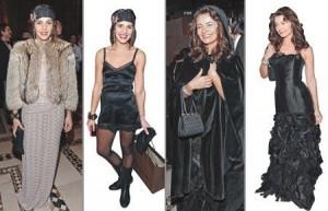 Turma de fashionistas tem usado dois modelitos para uma mesma ocasião, por conta do frio que faz em NY.