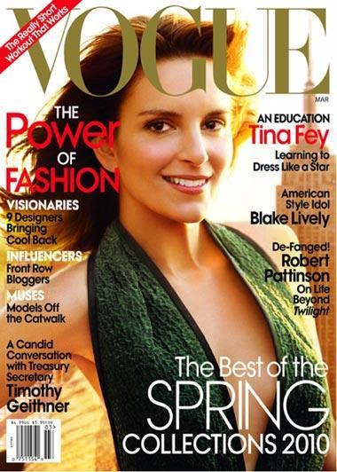 """Tina Fey, na capa da """"Vogue"""" norte-americana: defendendo a turma da moda"""